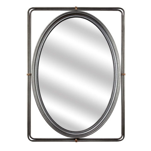 "Antiqued Metal Frame Mirror (25""H)"