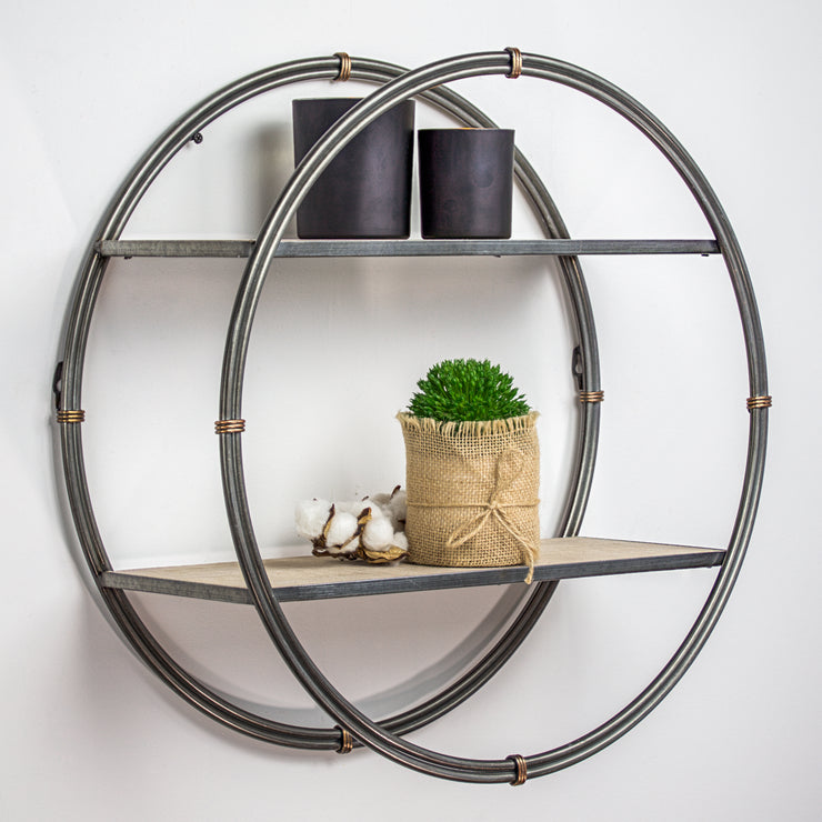 Rustic Wood Metal Round Wall Shelf