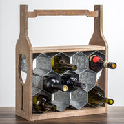 Rustic Wood Metal 11 Bottle Wine Rack with Handle