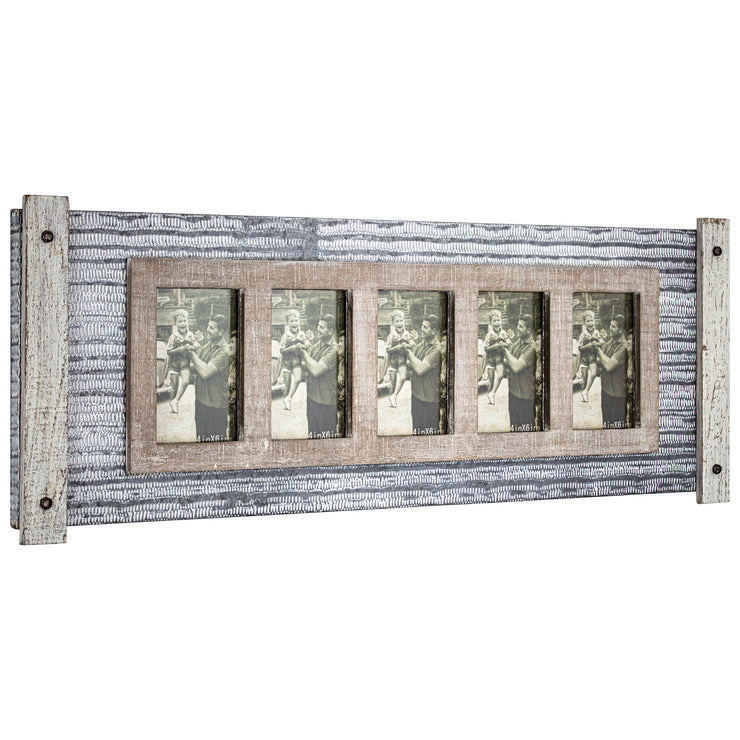 Rustic Wood and Metal Hanging 5 Picture Photo Frame