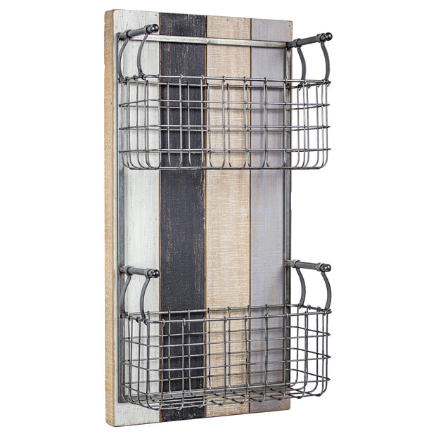 2 Pocket Rustic Metal Wired Wall Basket & Wall Organizer