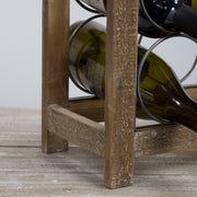 Rustic Wood Metal 9 Bottle Wine Rack