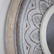 Round Wood and Metal Whitewashed Floral Mirror
