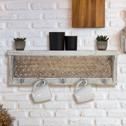 Whitewashed Wood Coat Rack with Shelf