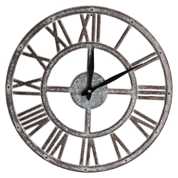 "Whitewashed Metal Farmhouse Clock (15"")"