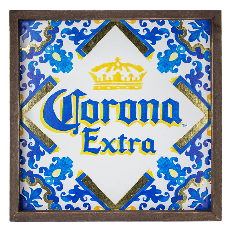 Corona Extra Beer Framed Art Print with Gold Foil 14.25""