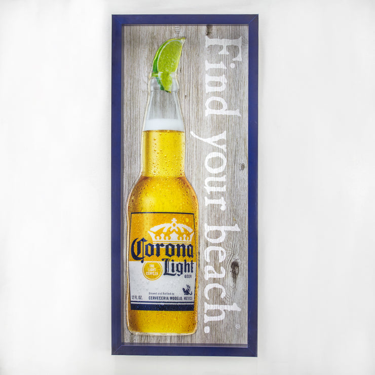"Corona Light Find Your Beach Reverse Box Framed Wall Art Decor (21"" x 9"")"