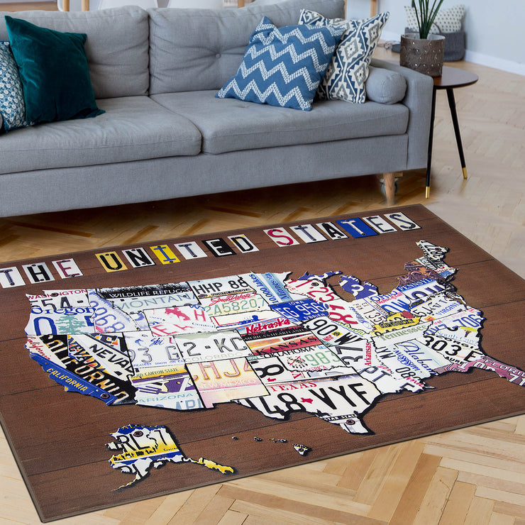 United States License Plate Map Area Rug (5'x7')