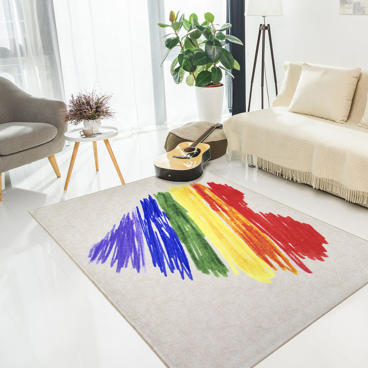 Pride Rainbow Brushstroke Heart Area Rug (5'x7')