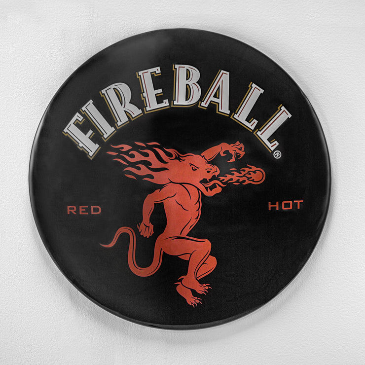 "Fireball Red Hot Dome Metal Sign (15"")"
