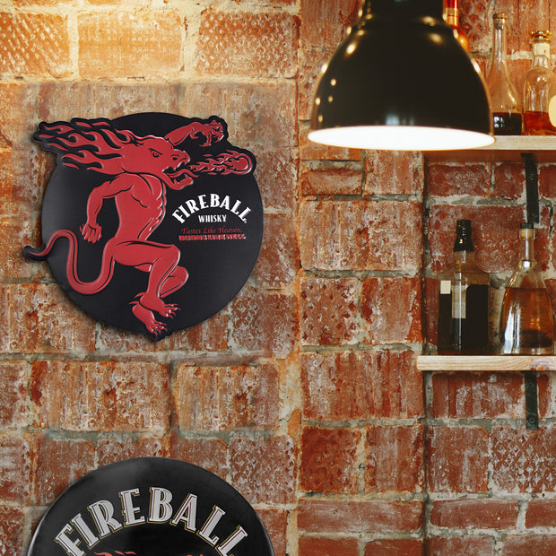 Fireball Whiskey Embossed Metal Sign