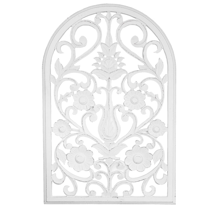 "Arched Windowpane Wood Wall Panel – White (36"" x 24"")"