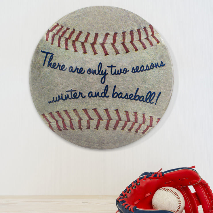 "Two Seasons Baseball Dome Metal Sign (15"")"