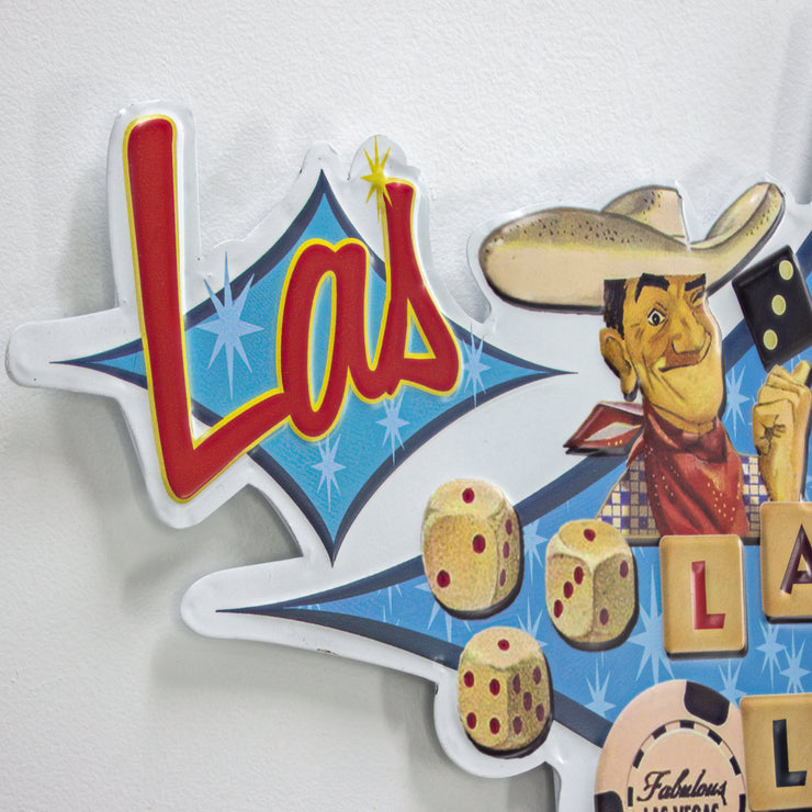 Viva Las Vegas Lady Luck Embossed Metal Sign