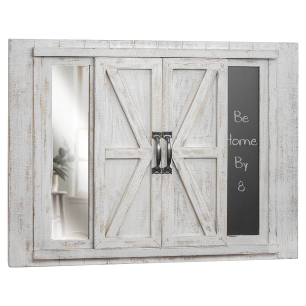 Barn Door Picture Frame with Chalkboard and Mirror