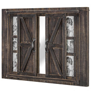 "Sliding Barn Door Picture Frame Collage with Mirror (20"" x  27"")"