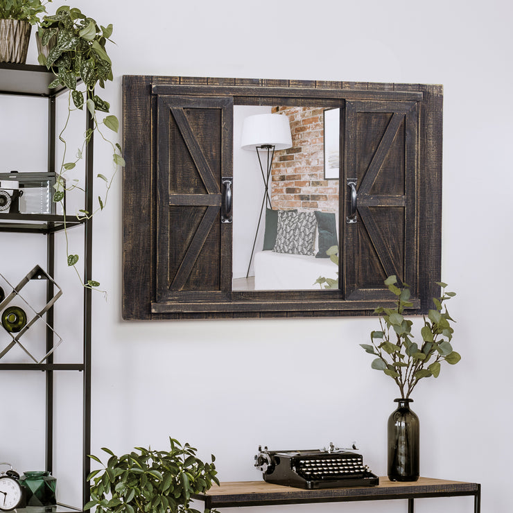 Rustic Barn Door Picture Frame with Mirror