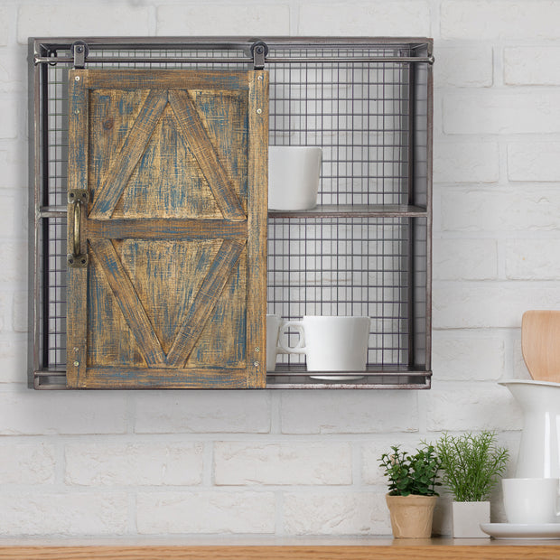 Farmhouse Sliding Barn Door Cabinet Wall Shelf