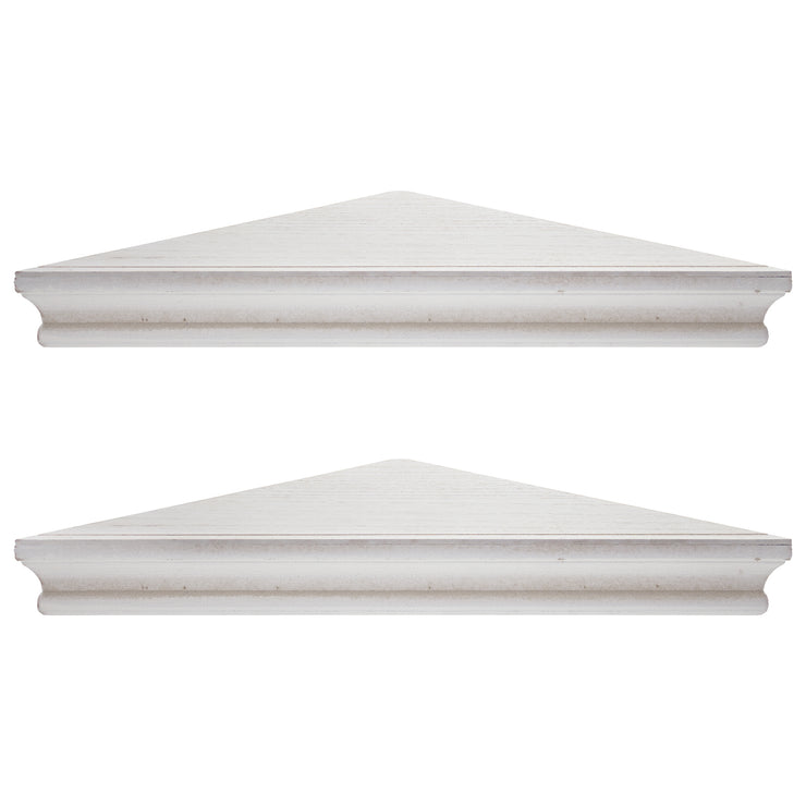 Beveled Wood Floating Corner Shelves (Set of 2) - White