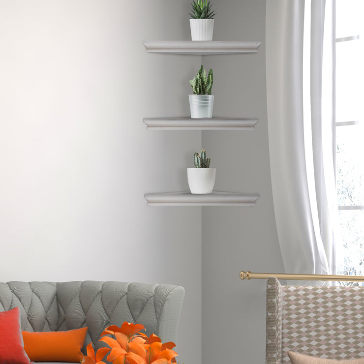 Wood Floating Beveled Corner Shelves (Set of 3) - White