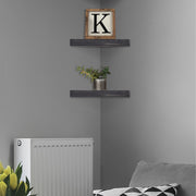 Wood Floating Corner Shelves (Set of 2) - Black