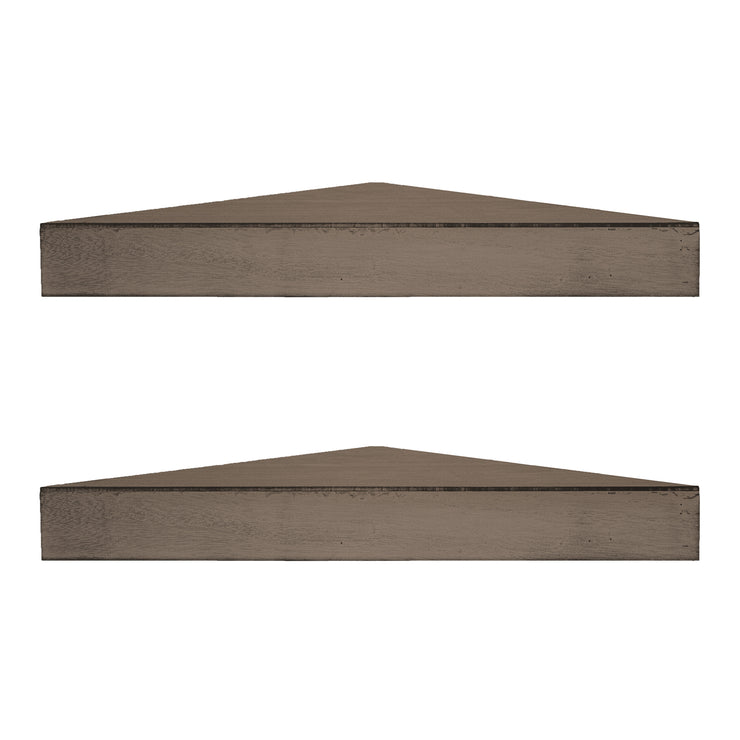Wood Floating Corner Shelves (Set of 2) - Walnut Brown