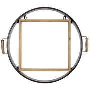 "Metal and Wood Round Hanging Wall Shelf (20"" x 23"")"