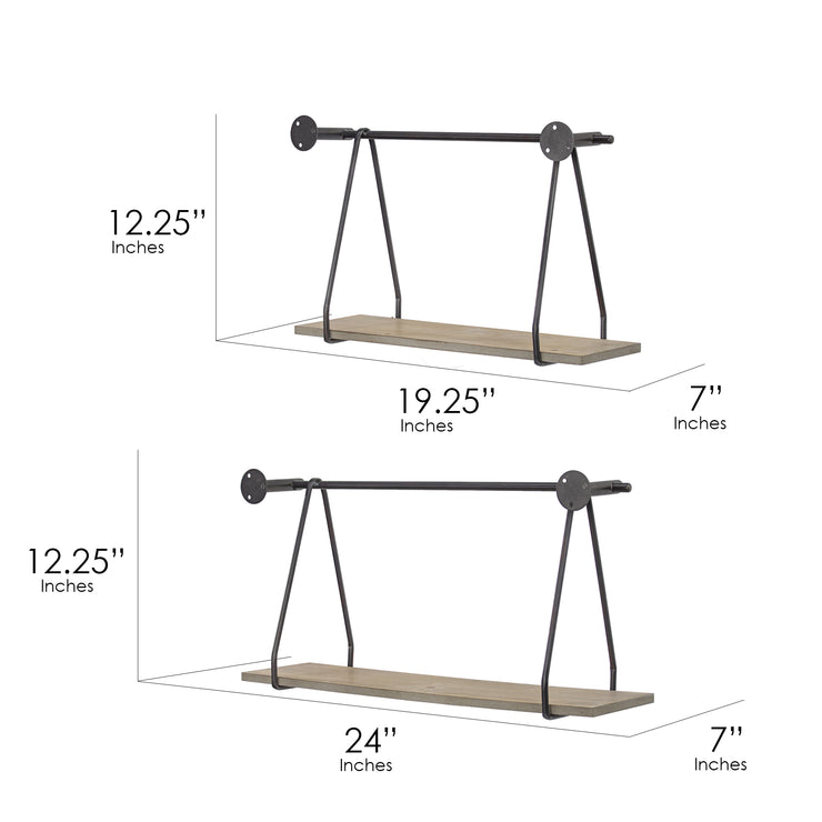 Rustic Wood and Metal Hanging Wall Shelves (Set of 2)