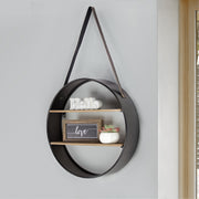 "Metal and Wood Round Hanging Wall Shelf with Strap (33"" x 19"")"