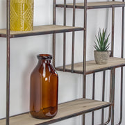 Rustic Wood and Metal Multi-Unit Hanging Wall Shelf