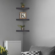 Wood Floating Corner Shelves (Set of 3) - Black