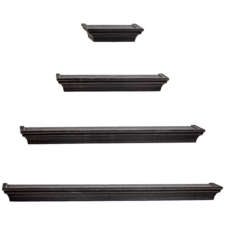 Floating Shelves with Crown Molding - Black