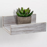Whitewashed Wood Floating U Wall Shelves - Set of 3