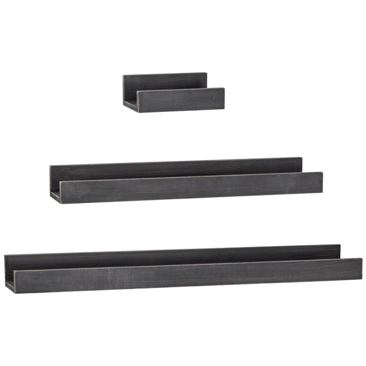 Floating U Wooden Wall Shelves - Set of 3 (Black)