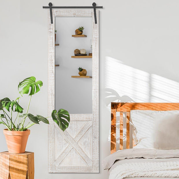 Hanging Wood Barn Door and Mirror
