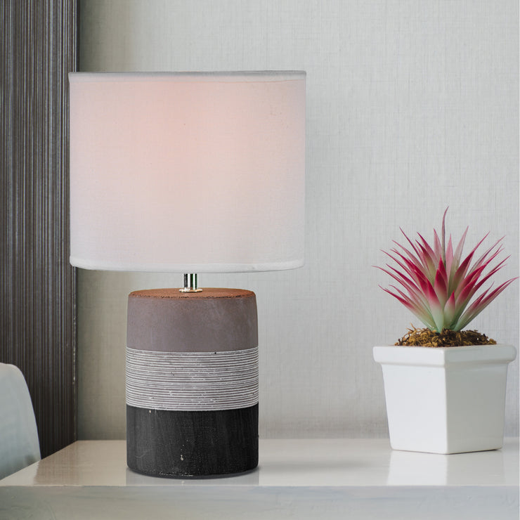 "Tri-Tone Concrete Table Lamp with Canvas Shade (13.25"")"