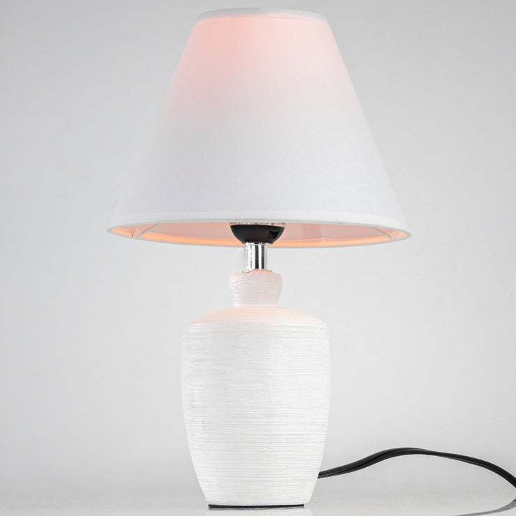 "Ceramic Table Lamp with White Canvas Shade (15.25"")"