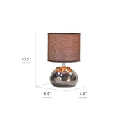 "Glazed Ceramic Table Lamp with Canvas Shade - Brown (10.5"")"