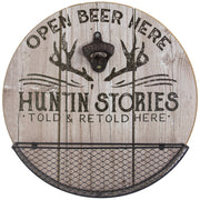 Huntin' Stories Told Here Bottle Opener and Cap Catcher Wall Decor