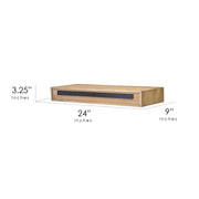 "Floating Wall Shelf with Drawer - Brown (24"" x 9"")"