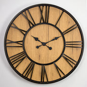 MDF and Plastic Oversized Wall Clock - Black/Wood Veneer - 30""