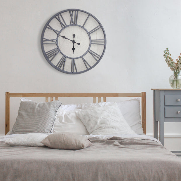 MDF and Plastic Oversized Wall Clock – Whitewashed - 30""