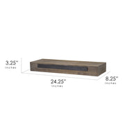 Rustic Wood Floating Wall Shelf - Small/Grey