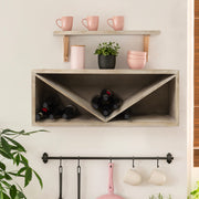 Natural Wooden Wine Bottle Display Shelf