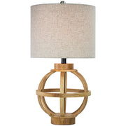 "Wooden Cage Table Lamp with Canvas Drum Shade (23.5"")"