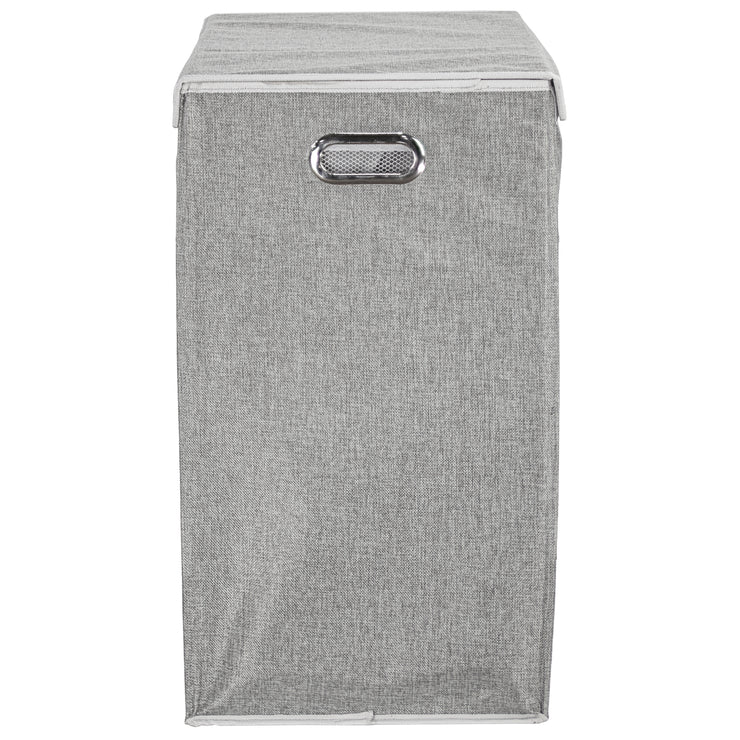 "Collapsible Double Laundry Hamper with Removable Liners and Magnetic Lid – Grey (25.5"" x 25"")"