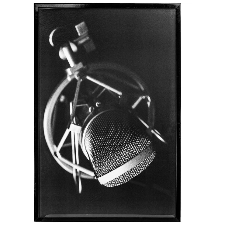 Vintage Microphone Black and White Framed Photo Art Print