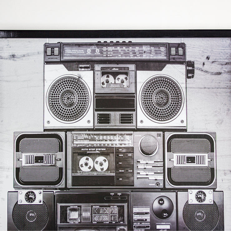 "Vintage Boombox Stereo Framed Photo Art Print 37"" x 25"""