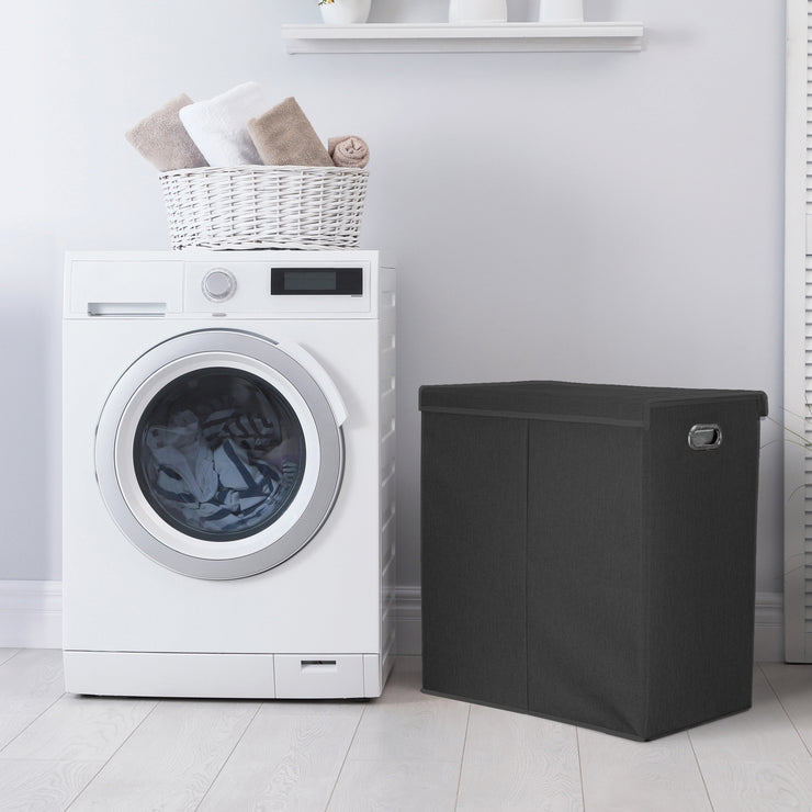 "Collapsible Double Laundry Hamper with Removable Liners & Magnetic Lid – Black (25.5"" x 25"")"