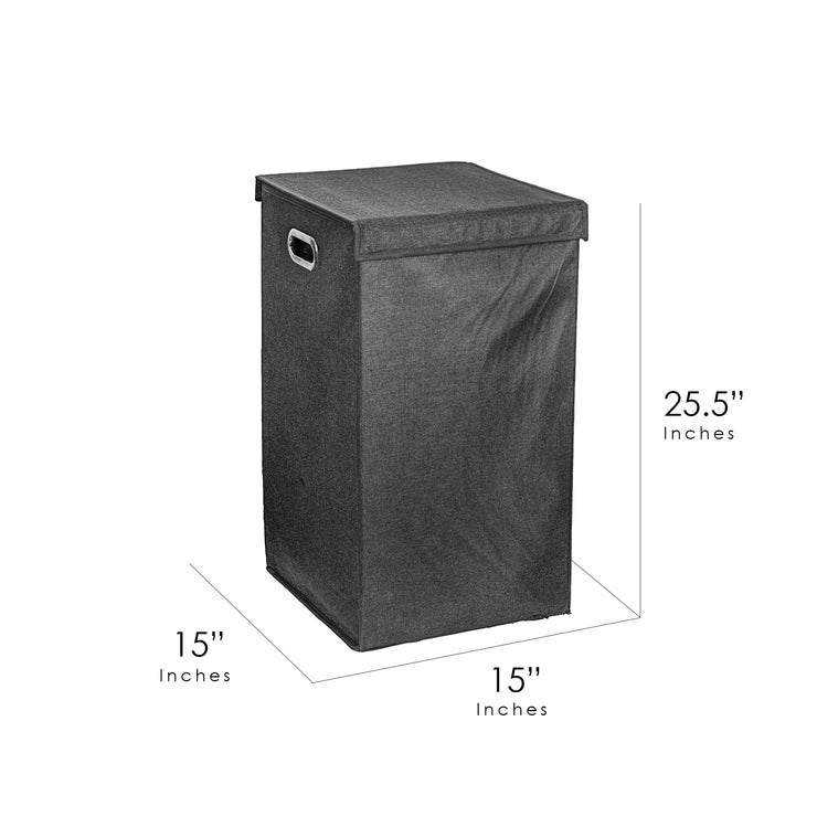 "Collapsible Laundry Hamper with Removable Liners & Magnetic Lid – Black (25.5"" x 15"")"